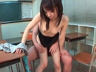 Japanese excited girl jumping teachers dick in classroom