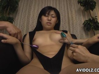 Asian kamikaze girl getting her muff toy fuck