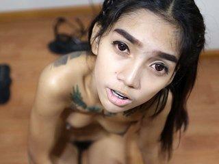 Blowjob by Thai Game with bushy crotch